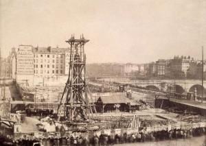 Déplacement de la colonne de la Victoire, avec vue du quai de Gesvres et du pont Notre-Dame