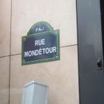 Street sign for the rue Mondétour.