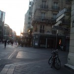View down the rue Rambuteau, towards Les Halles. The scaffolding is about where the barricade would have been.